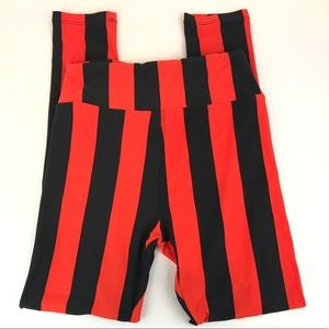 Halloween striped pants orange black one size EUC